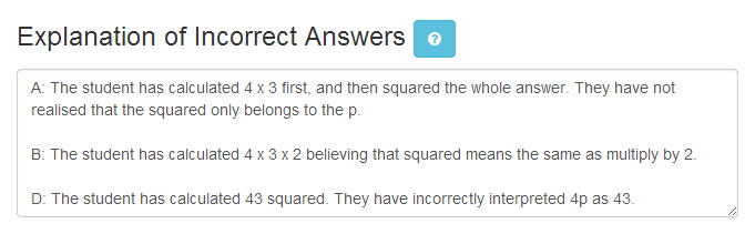 Explanation of incorrect answers example.