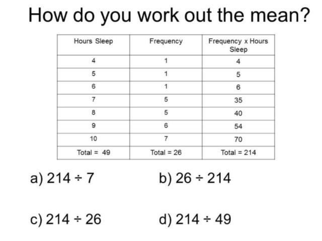 question of the week 12 mean from a frequency table mr barton